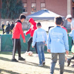 young boys and girls playing soccer on the grass at the walk for kids