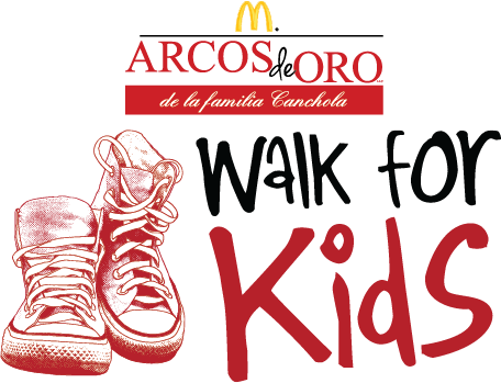 Arcos de Oro Walk for Kids logo with sketch of red sneakers