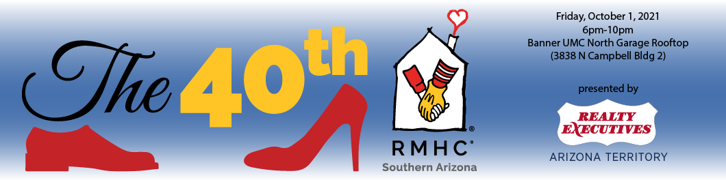 The 40th with red shoe silhouettes and the Ronald McDonald House Charities of Southern Arizona logo
