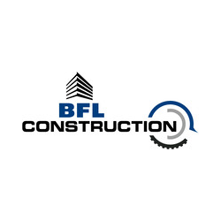 BFL Construction logo in black writing with one circle design and one pointy design
