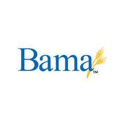 Bama logo with blue words and yellow design on white background