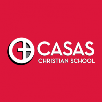 Casas red logo with white text including white circle with cross inside of it