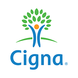 Cigna logo - blue stick figure as part of green tree