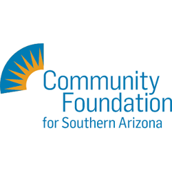 Blue and yellow quarter arc with sun rays and Community Foundation for Southern Arizona wordmark