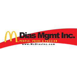 Dias mgmt inc logo with black writing and rectangle behind the text