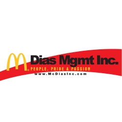 Dias mgmt inc logo with black writing and red stripe behind text