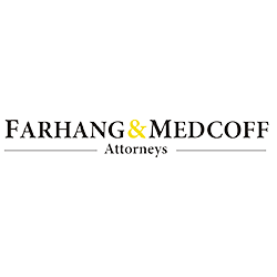 Farhang and medcoff logo with black writing