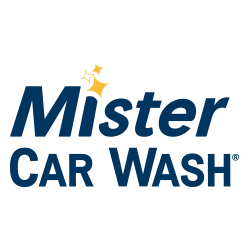 Mister Car Wash logo on white background with blue words