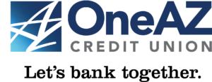 OneAZ Credit Union logo Let's Bank Together