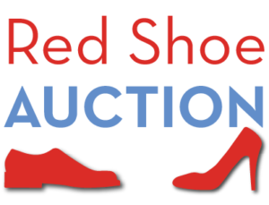Red Shoe Auction with two silhouettes of red shoes