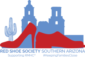 Red Shoe Society logo with red high heel and mens dress shoe infront of blue city scape