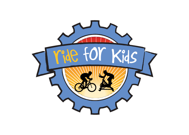Ride for Kids logo with cyclist silhouettes on a sunburst background inside a blue cog