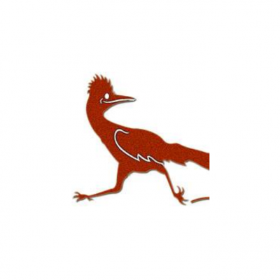 Roadrunner logo of a red roadrunner looking back