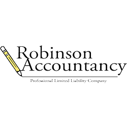 robinson accountancy logo with black writing on white background