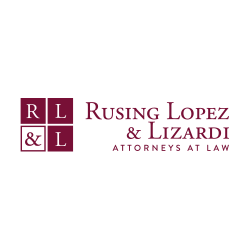 Rusing Lopez Lizardi Attorneys at Law with maroon blocks embedded with RL&L
