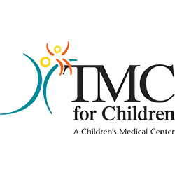 TMC for children logo with black writing and green and gold design