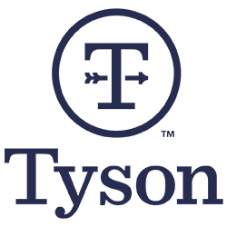 Circle containing a capital T with an arrow through it, and underneath the word Tyson