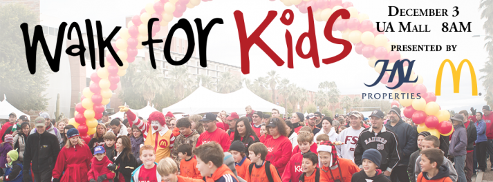Walk for Kids December 3 at the UA Mall presented by HSL Properties and McDonald's Local Owner Operators