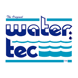 water tec with blue wave background