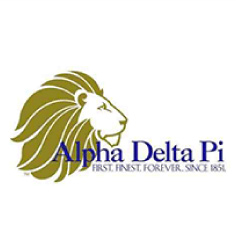 Alpha Delta Pi logo with purple writing and gold lion