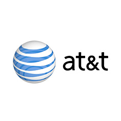at&t logo with black words and white sphere with blue lines