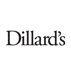 Dillard's logo with black writing on white background
