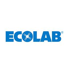 Ecolab logo with blue writing on white background