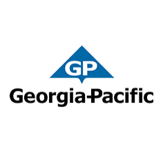 Georgia-Pacific logo with black words underneath blue triangle with white letters G and P