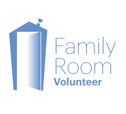 Family Room Volunteer logo with blue writing and tall blue house