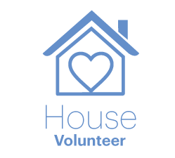 House Volunteer logo in blue writing with house with a heart in the middle
