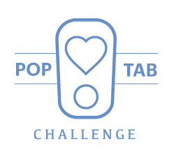 Pop Tab Challenge logo with blue writing and blue poptab with heart in the middle