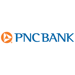 PNC Bank in blue letters with orange and white folded triangle logo