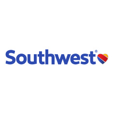 Southwest airlines logo on white background with blue words
